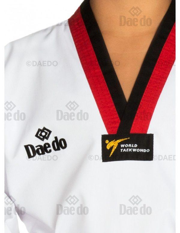 Dobok Acanalado Tipo Infantil Cuello Rojo-Negro